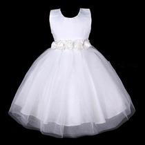 Vestido Infantil Festa/princesa/dama/florista Aplicaçao Flor