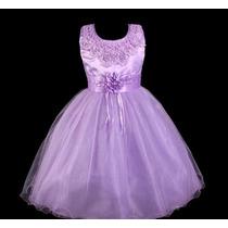 Vestido Infantil Festa/ Princesa/dama Pérolas No Decote