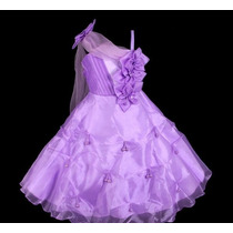 Vestido Infantil Festa Flores Pink Ou Lilás -pronta Entrega