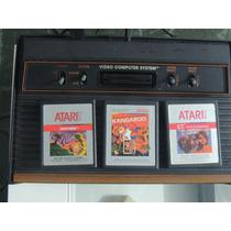 3 Fitas De Atari Silver Label: E.t., Centipede, Kangaroo