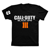 Camiseta Preta Call Of Duty Black Ops 3 Ps4 Ps3 Xbox One 360