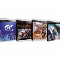 4 Jogos:uncharted 3 + God Of War + Gran Turismo 6 + Metal Ge