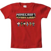 Camiseta Vermelha De Algodão Minecraft Story Steve Creeper
