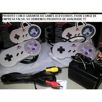 Kit Para Super Nintendo 2 Controles+ 1 Cabo Av+ 1 Fonte