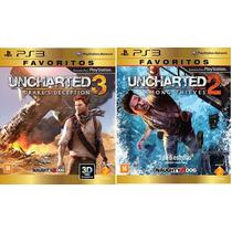 Jogo Uncharted 2 E Uncharted 3 Ps3 Midias Fisicas Lacradas