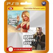 Grand Theft Auto Iv+v (código Ps3) Pack Gta 2 Jogos
