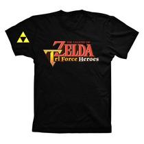 Camiseta Preta Algodão Zelda Tri Force Heroes Nintendo 3ds
