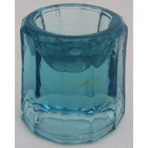 Almofariz Antigo De Dentista Pequeno De Vidro Azul Claro