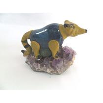 Guaxinim Em Pedra Ametista E Sodalite Enfeite De Mesa