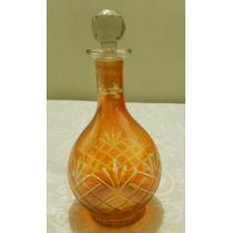 Licoreira Cristal Fogo Carnival Glass Lapidada Bisotada 26cm