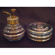 Perfumeiro Com Borrifador Metalico E Porta Algodão Em Vidro