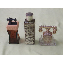 Antigos 3 Vidros De Perfumes Usados E Vazios