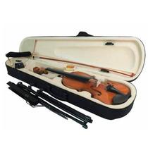 Violino 3/4 Kit Estojo, Arco, Espaleira, Afinador, Estante