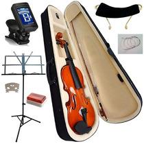 Violino 4/4 Case Espaleira Arco Estante Partitura E Afinador