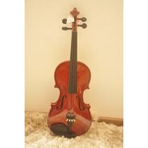 Violino 3/4 Top Dark Ambar Completo Com Case Luxo E Arco