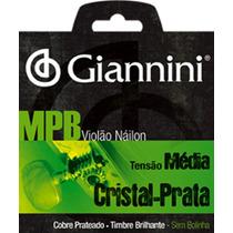 Encordoamento Violao Nylon Giannini Mpb Cristal-prata Corda