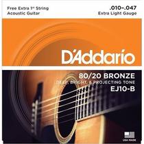Encordoamento P/ Violão D´addario, Bronze 80/20 Ej10-b .010