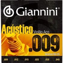 Jogo De Cordas Para Violão Série Acústico Aço 0.09 Giannini