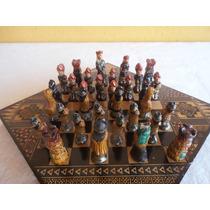 Jogo De Xadrez Em Terracota Pintado À Mão
