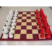 Jogo De Xadrez Conjunto Extra Marchetado Vermelho X Branco