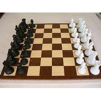 Jogo De Xadrez Conjunto Extra Marchetado Preto X Branco