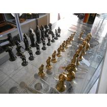 Peças Em Miniatura Jogo De Xadrez Em Bronze Completo #1810