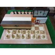 Jogo De Xadrez Conjunto Tabuleiro Peças Staunton Relógio