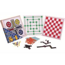 Damas Ludo Dominó Loto E Trilha 5 Jogos Em 1 Xalingo