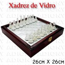 Jogo De Xadrez Peças Em Vidro Estojo De Madeira 26 Cm