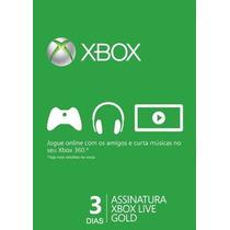 Xbox Live Gold Cartão 3 Dias Us E Br (envio Imediato!)