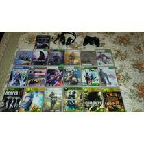 19 Jogos De Xbox 360 +1 Fone De Ouvido +1 Controle Original