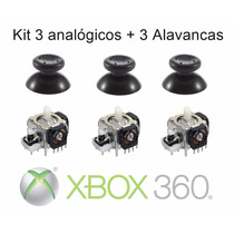 Kit 3 Analógico 3 Alavanca Xbox 360 Microsoft Controle Botão