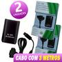 2x Unds Carregador Controle Xbox 360 30000mah Cabo 3 Metros