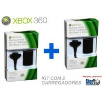 Kit 2 Baterias Carregador Controle Xbox360 Slim E Arcade