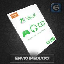 Cartão Microsoft Points Xbox Live Brasil De R$100 Imediato