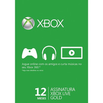Xbox Live Gold Brasil| Br Usa| Cartão 12 Meses| Xb 360 E One
