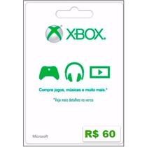 Cartão Microsoft Points Xbox Live Brasil De R$ 60 Imediato