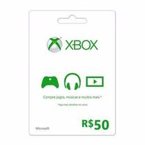Cartão Microsoft Points Xbox Live Brasil De R$50 Imediato