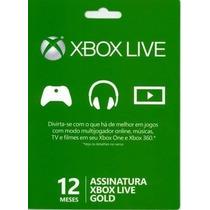 Xbox Live Gold Cartão 12 Meses Conta Americana E Brasileira