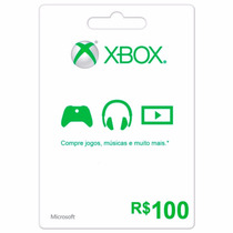 Cartão Microsoft Points Xbox Live Brasil De R$ 100 Imediato