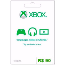Cartão Microsoft Points Xbox Live Brasil De R$ 90 Imediato