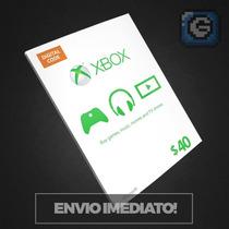 Microsoft Gift Card $40 Dólares - Cartão Xbox 360 E Xbox One