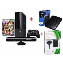 Xbox360 S. Slim 4gb Jtag+ Kinect + 200 Jogos + Kit Bateria