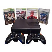 Xbox 360 250gb Com 2 Controles E 4 Jogos Originais