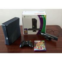 Xbox 360 Slim 4gb Com Kinect Travado + Hdmi + Headset