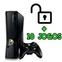 Xbox 360 Slim Jtag Rgh + 2 Controle + Kinect + 10 Jogos.