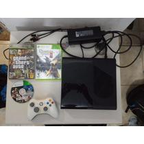 Xbox 360, 4gb + 1 Controle, 3 Jogos Originais, Aceito Trocas