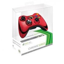 Controle Xbox 360 Sem Fio Chrome Series Red Vermelho