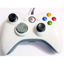 Controle Com Fio Xbox 360 Pc Slim Joystick Branco Knup