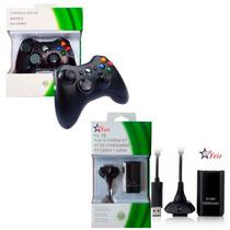 Kit Controle Wireless S/fio P/xbox 360 + Bateria Recarregáve